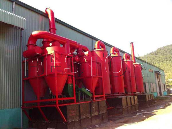 de dusting system of Beston palm kernel shell carbonization machine